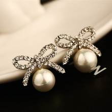 CX-SHINY Luxury Star Fashion Bowknot Earring 2 Colors Crystal High Quality cc Female Pierced Stup