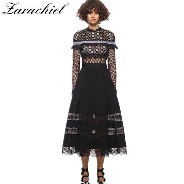 ce80a1369cc3 Zarachiel Self-Portrait Runway 2019 Fall Women Long Sleeve Flower Patchwork  Lace Dress Ruffles Hollow