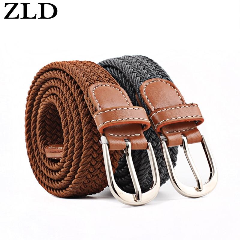 Zld New TOP Fashion Men/'s stretch tressé élastique tissé toile Pin Buckle Femmes
