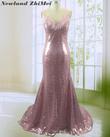 Stunning Sequin Celebrity Dresses Sexy Spaghetti Straps Applique Long Evening Party Gowns 2018