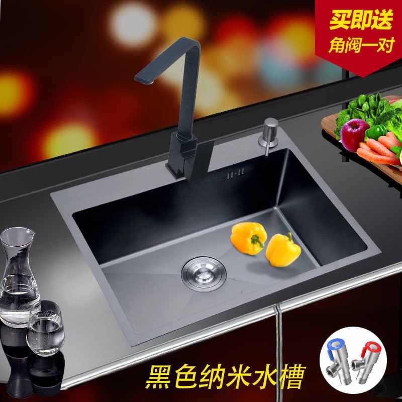 30 inç 11 Ölçer mutfak lavaboları Undermount Nano Siyah Lavabo Paslanmaz Çelik El Kalınlaşmış Mutfak Tek Yuvası ile drenaj filtresi