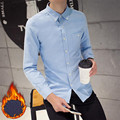 New M-3XL Plus Large Size Mans Winter Thick Dress Shirts Oxford Cotton Casual Males Shirt Solid Cashmere Inside Camisa Masculina