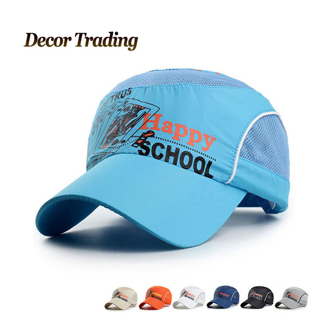 139ffbce14e13 Summer Quick Dry Fitted Snapback Kids Baseball Caps Mesh Breathable Casual  Adjustable HAPPY SCHOOL Children Hats