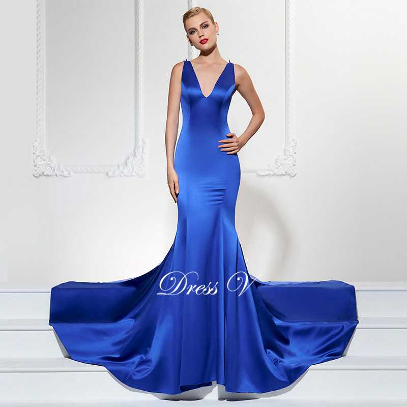 Dressv royal blue long evening dress sexy v leher mermaid sweep train - Gaun acara khas - Foto 2