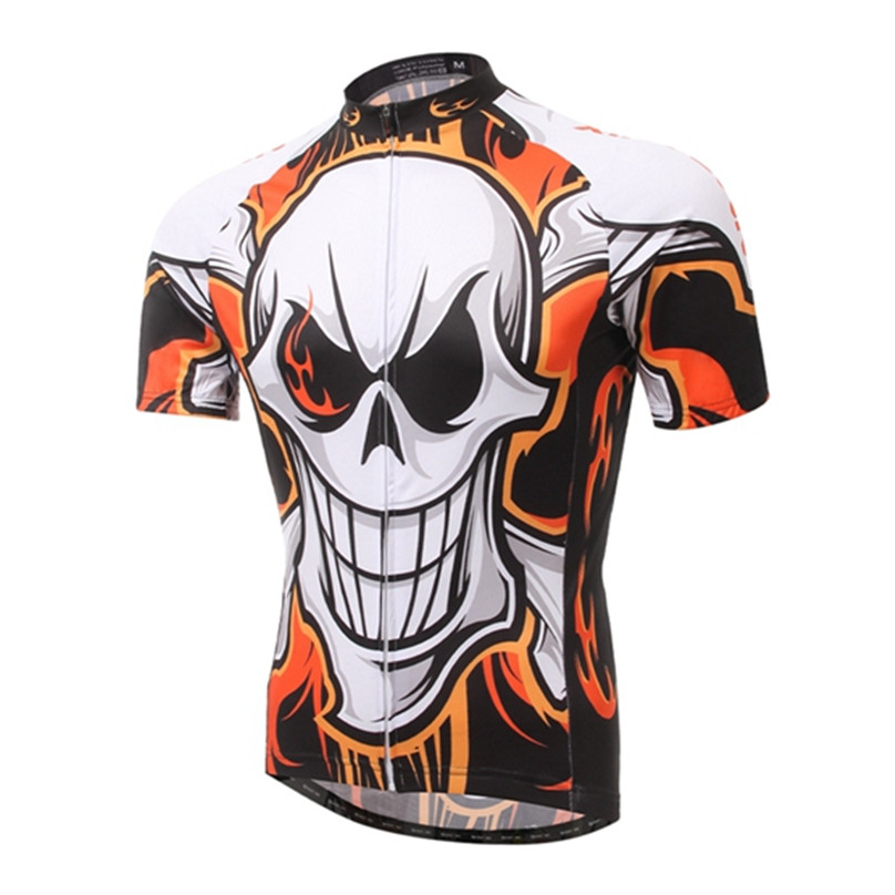 цена на 2016 4 Color Skull Style Cycling Jersey Cycle Short Sleeve Shirt Top MBT Bike Bicycle Sportwear Shirts Outdoor Ropa Ciclismo