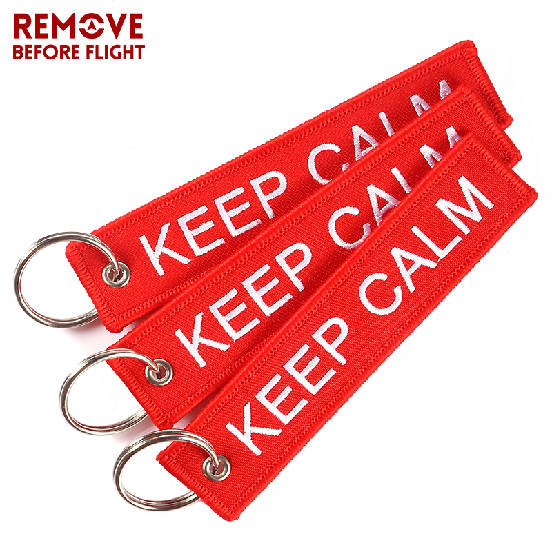 Fashion Keychain KEEP CALM AND CARRY ON Embroidery OEM Keychains Key Chain Key Holder Llaveros for Car key Rings Luggage Tag 3PC
