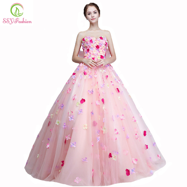 Ssyfashion new sweet romantic pink flower fairy prom dress strapless ssyfashion new sweet romantic pink flower fairy prom dress strapless appliques a line floor mightylinksfo