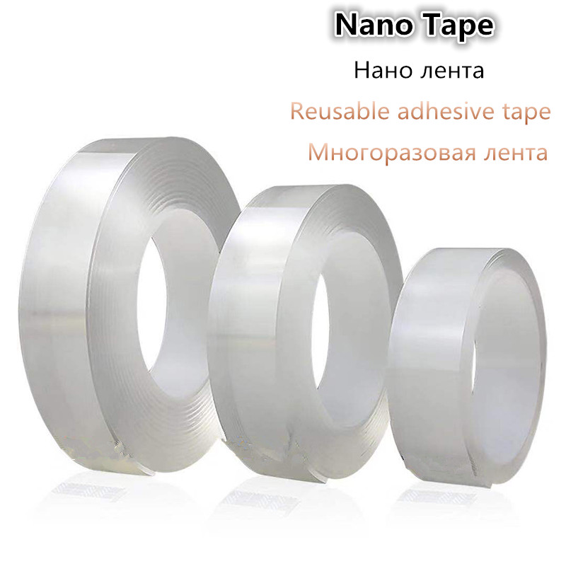 Reusable Transparent Double-Sided Nano PU Gel Tape Traceless Washable Adhesive Tapes Home Anti-slip Fixed Adhesive 1/2/3M