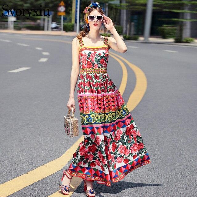 428ceaf5f2b40 SVORYXIU Summer Runway Designer Bohemian Long Dress Women s High Quality  Sleeveless Rose Print Crystal Spaghetti Strap Dress