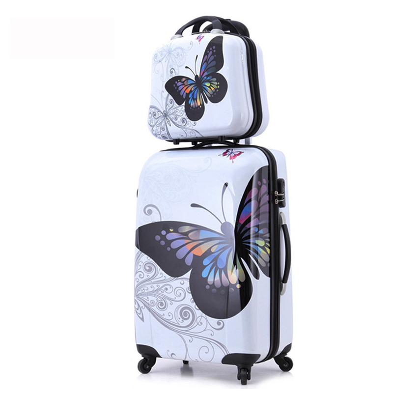20+12 amazing hot sales Japan butterfly ABS trolley suitcase luggage sets/Pull Rod trunk/traveller case box with spinner wheel 20 24 inches fashion classic day and night trolley suitcase luggage pull rod trunk traveller case box with spinner wheels