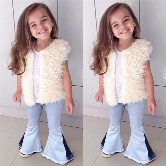 79ee7be65db44 2019 moda dziewczyny Denim spodnie Flare odzież dziecięca wiosna lato odzież  dla dzieci w stylu Vintage