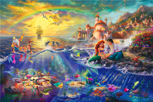 Little Mermaid Poster Little Mermaid Princess Wall Stickers Thomas Kinkade  Painting Wallpaper Christmas Mural Home Decor #2578# In Wall Stickers From  Home ...