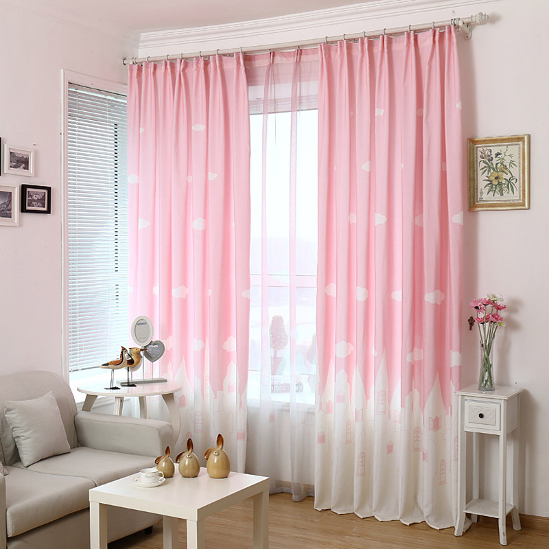 Pink blue cartoon castle shade blinds window blackout for Kid curtains window treatments