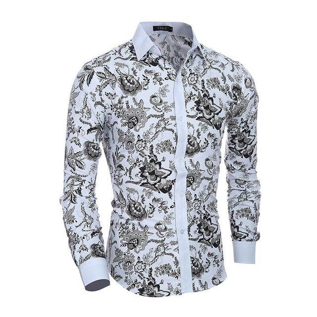 Hommes fleur Chemise 2019 nouveau 3D impression mode décontracté Slim Fit  hawaïen robe chemises Camisa Masculina
