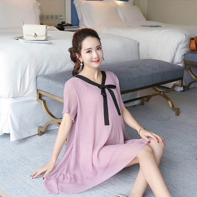 a781e608e7d8 Summer Striped Expectant Mother Casual Chiffon Dress Pregnant Women Clothes  Purple Loose Maternity Dress