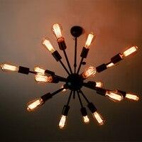 RH LOFT Northern American Rural Industrial Storm Lantern Edison 18 First Satellite Spider Chandelier Restoring Ancient