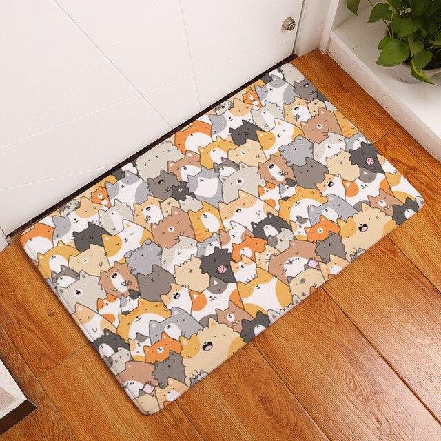 Cuteness carlin Corgi tapis de sol   Tapis de salon, chien chat renard écureuil décoration de porche, tapis en molleton de corail 40-60CM fait à la main