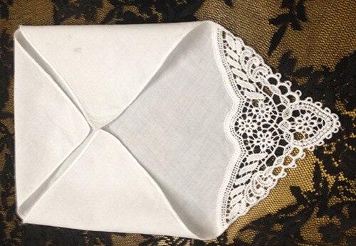 Set Of 12 Fashion Ladies Handkerchiefs 12-inch Cotton Handkerchief  Sweet Heart Hankies Vintage Lace Wedding Hanky For Bride