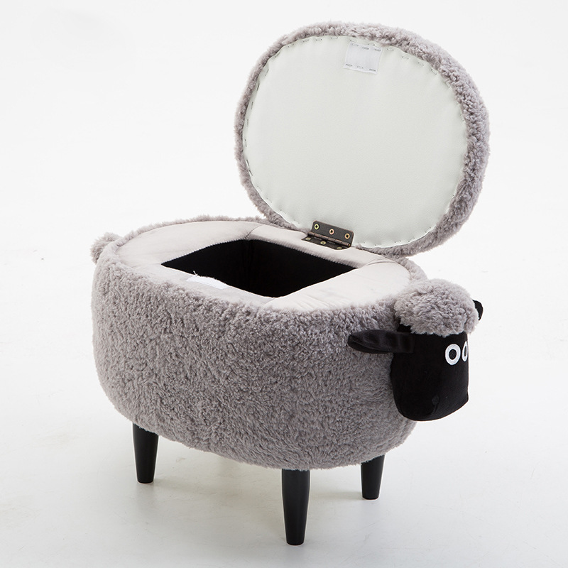 2018 New Lint Sofa Shoe Stool Pouf Chair Ottoman Bean Bag Kid Toys Storage Footstool Solid Wood Nordic Home Deco Furniture(China)