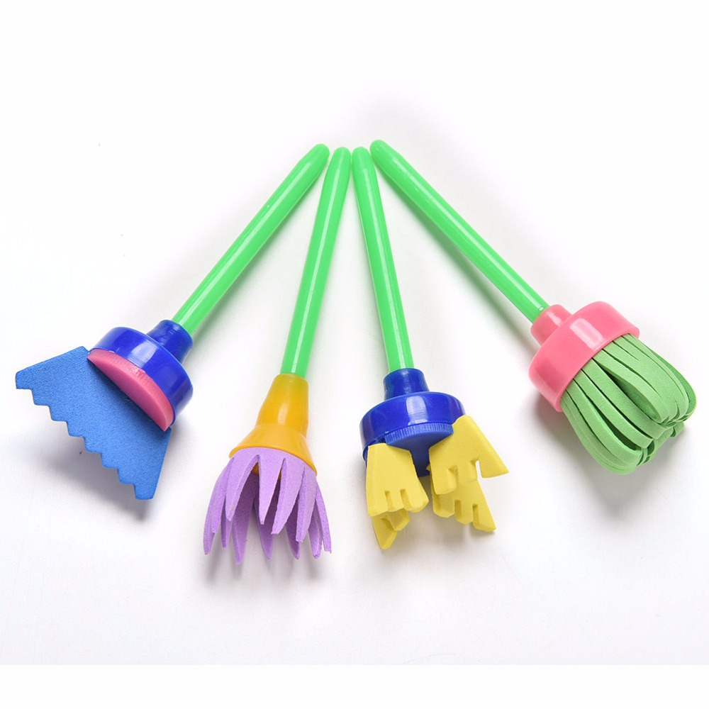 Online coloring tools - Baby Children Kids Cute Pattern Graffiti Painting Brush Hand Diy Auxiliary Mop Sponge Brush 4 Pcs Eva Rotary Brush Painting Tool In Drawing Toys From Toys