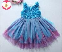 女の子花ドレス子供夏の結婚式/パーティーチュチュノースリーブ服5AA610DS11 [イレブンストーリー]