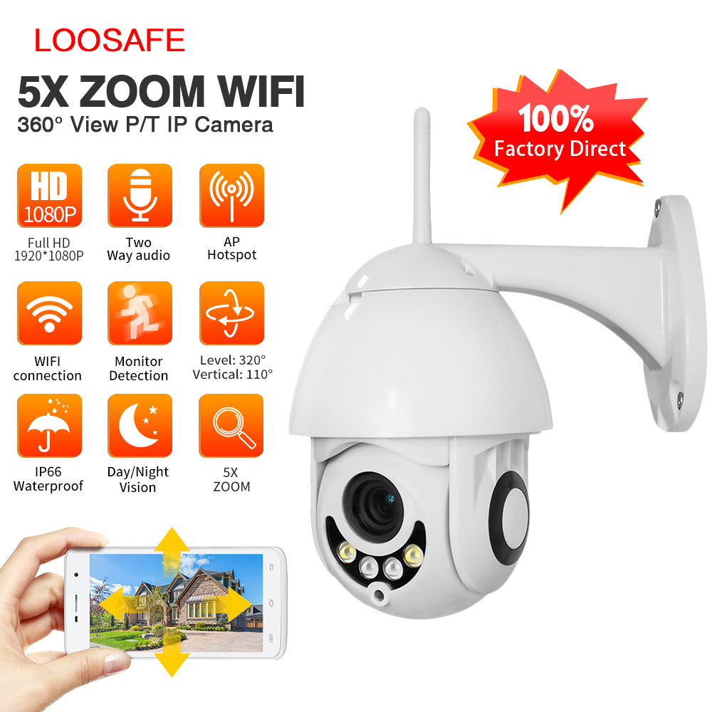 LOOSAFE New 5X Optical Zoom IP Camera 1080P Wireless WIFI IP CCTV Security Camera PTZ Speed