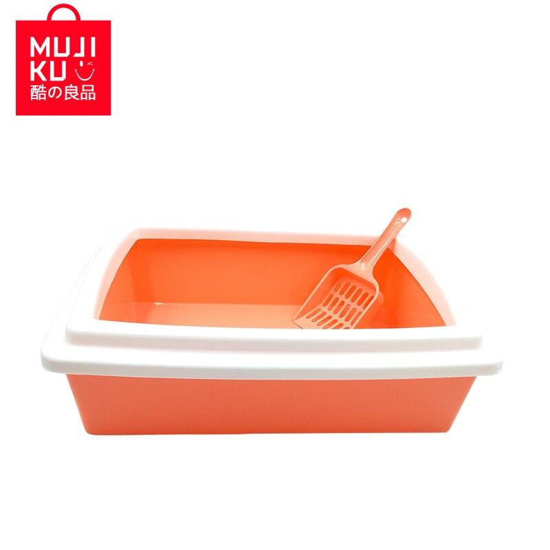 Mujiku Pet Supplies Cleaning Tools Cat Litter Pot Box Semi-closed Cat Toilet Rectangular With Shovel Protecting Family Clean