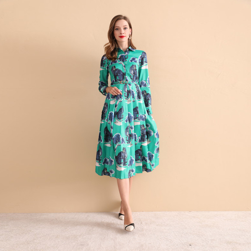 New 2018 autumn women lapel long sleeve dress Fashion animal cat print belted dress D427 in Dresses from Women 39 s Clothing