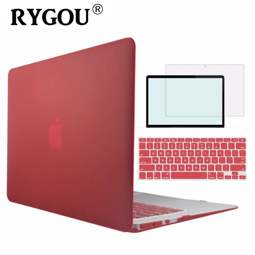 RYGOU mate claro caso duro para Apple Macbook Air Pro Retina 11 12 13 15 portátil casos para libro de Mac Air 11,6 de 13,3 Pro 13 15 pulgadas