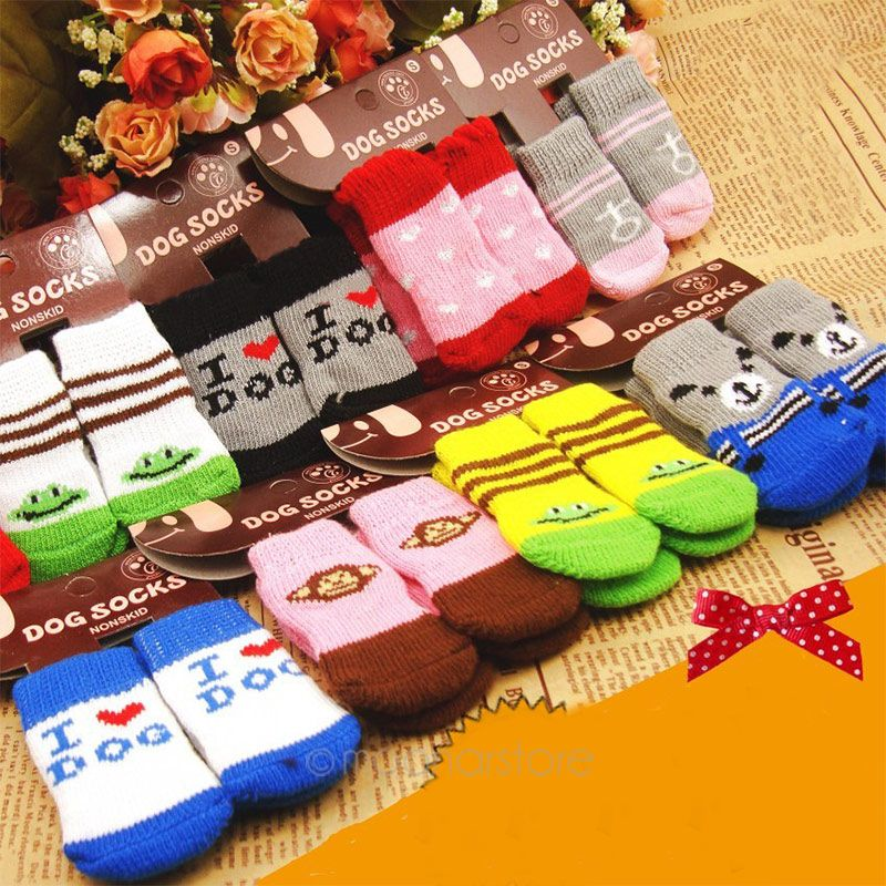 2 Pairs Good Quality Cute Red Pet Dog Soft Cotton Anti-slip Knit Weave Warm Skid Bottom Socks Drop Shipping