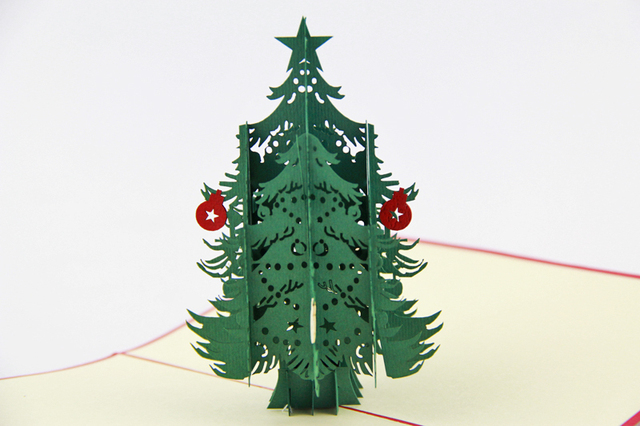 snow tree christmas cards 3d christmas trees pop up card holiday cards greeting cards - Pop Up Christmas Tree