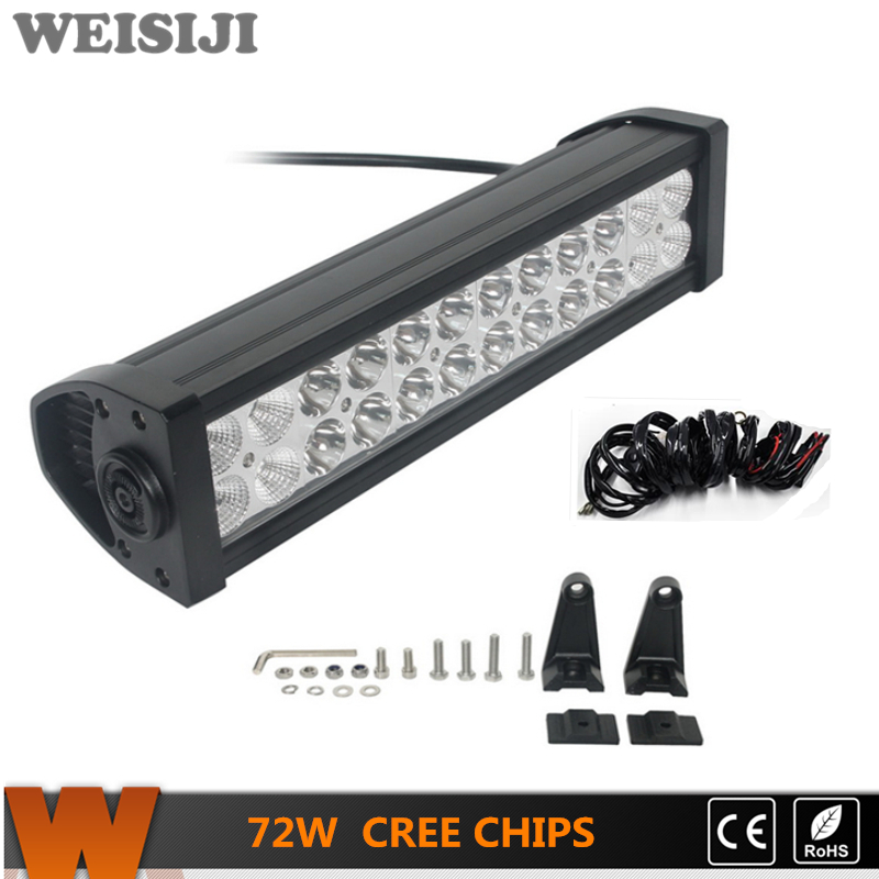 ФОТО WEISIJI 12IN 72W Straight LED Light Bar with Cree Chips Offroad Car Working Light Bar for Jeep Ford Hummer SUV ATV Ship Truck