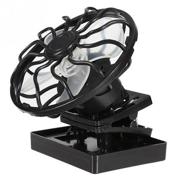 2800RPM Black Mini Clip-on Solar Powered Fan Panel Cell Fan Cooler Travel Camping Cooling Fishing Fan Portable Solar Fans