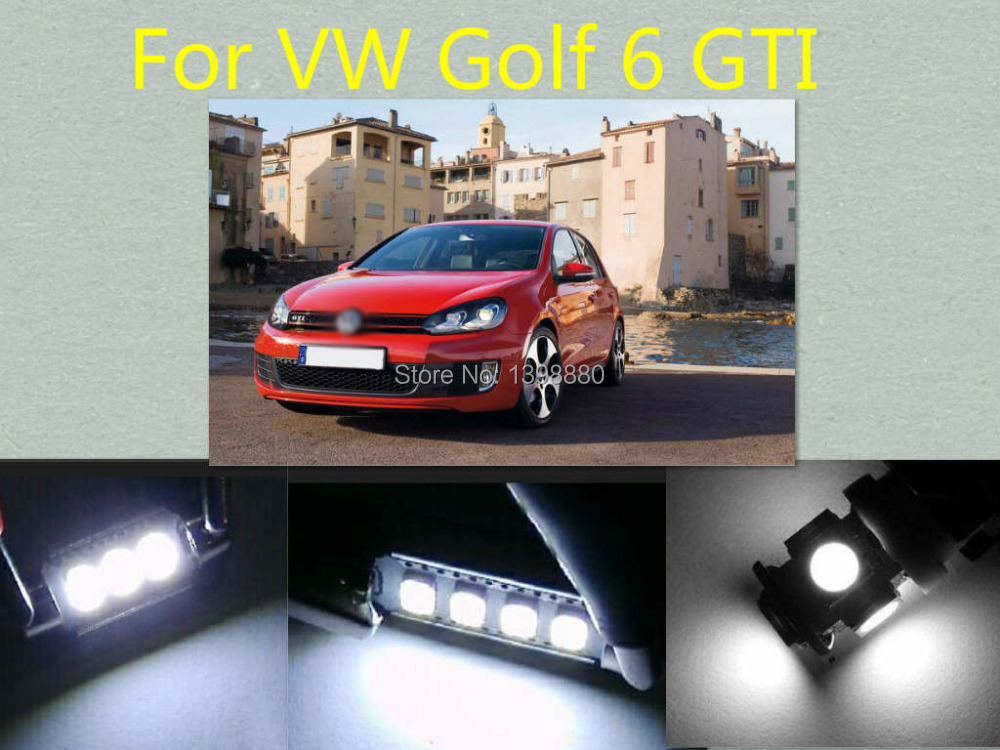 Error Free Canbus 9PCS White LED Interior Package kit For Golf 6 GTI Map Dome Box Trunk Tag Lights