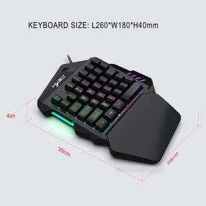 Image 3 - HXSJ neue one hand film tastatur farbe backlit gaming tastatur 1,6 m USB kabel 35 tasten für PC notebook