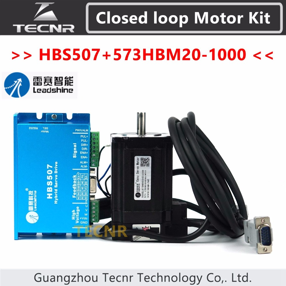 Leadshine Closed Loop Hybrid servo kit 2NM HBS507and 573HBM20-1000 3 phase servo motor with 1000 line encoder 100w new leadshine closed loop system a servo drive hbs507 and 3 phase servo motor 573hbm10 1000 with a cable a set cnc part