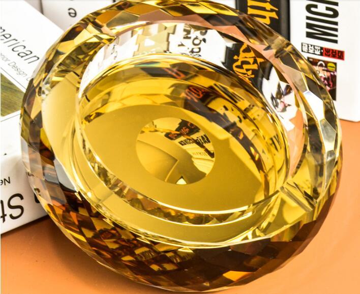 15 см круглая Хрустальная пепельница Европа Тип пепельница - Цвет: Gold Color