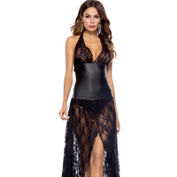 Women Sexy Hot Leather Sexy Long Trailing Dress Lingerie Exotic Lace Large Size Nightdress Uniforms Nightclub Clothing Dress