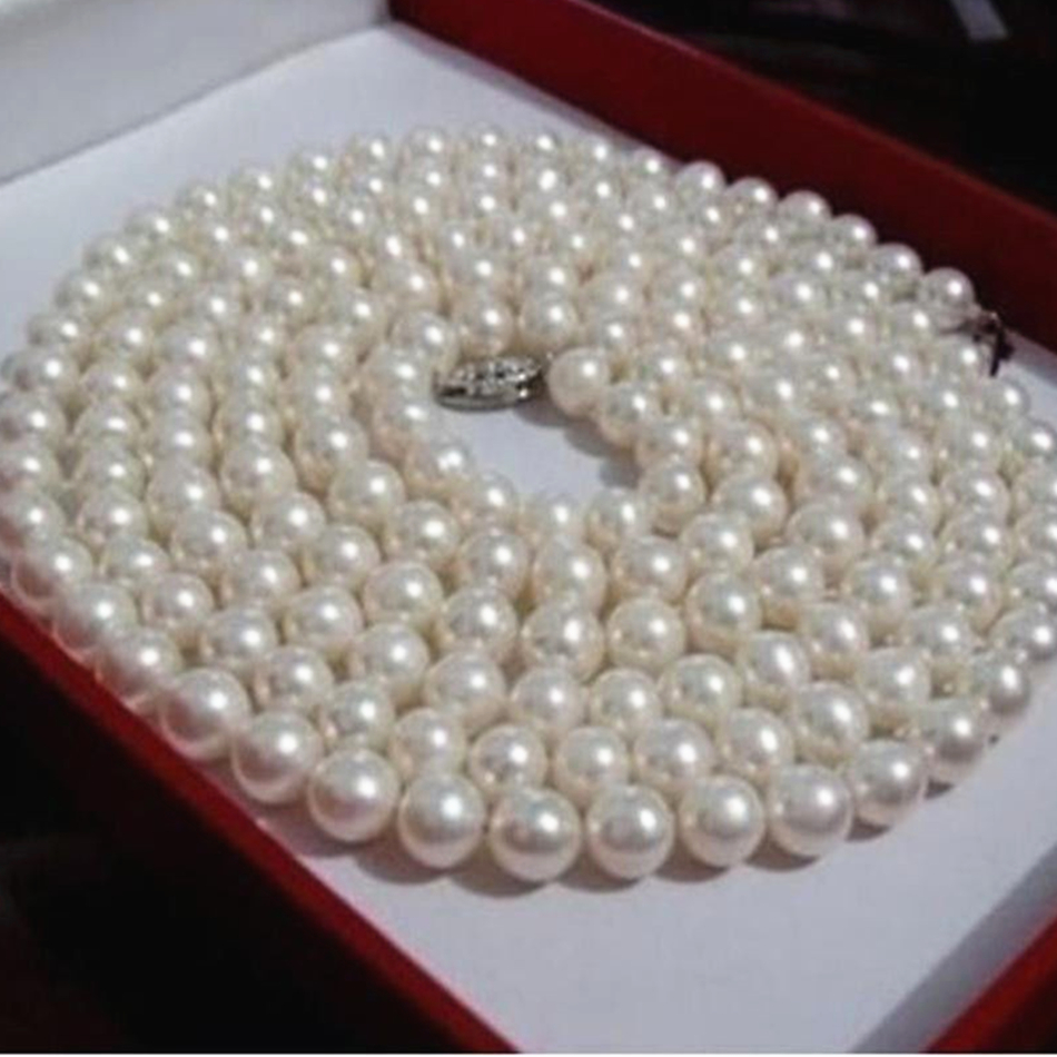 New fashion style diy 6 7mm natural freshwater cultured white pearl necklace round beads 50inch long chain jewelry making YE2092