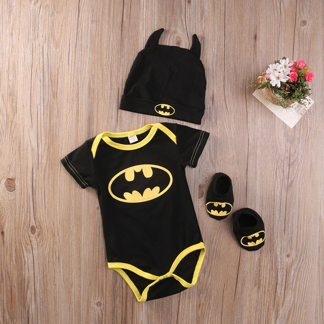 Fashion Batman Baby Boys Rompers Jumpsuit Cotton Tops+Shoes+Hat 3Pcs Outfit Clothes Set Newborn Toddler 0-24M Kids Clothes 5