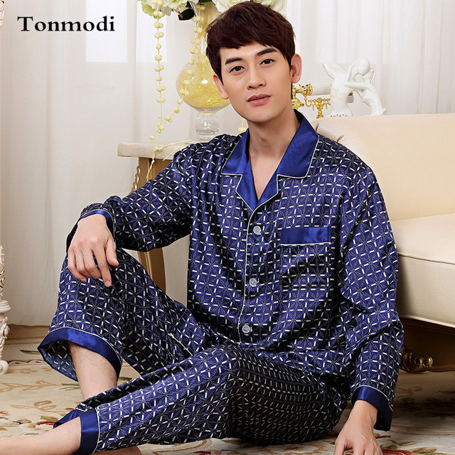 2017 New Luxurious Silk Satin Mens Pajamas Set Long Sleeve Trousers Sleepwear Mens Silk Pyjamas Set Plus Size 3XL