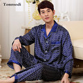 2017 Nuevos Mens de Lujo Satinado Seda Pajamas Set De Manga Larga Pantalones ropa de Dormir Para Hombre Pijamas de Seda Fijó Más Tamaño 3XL
