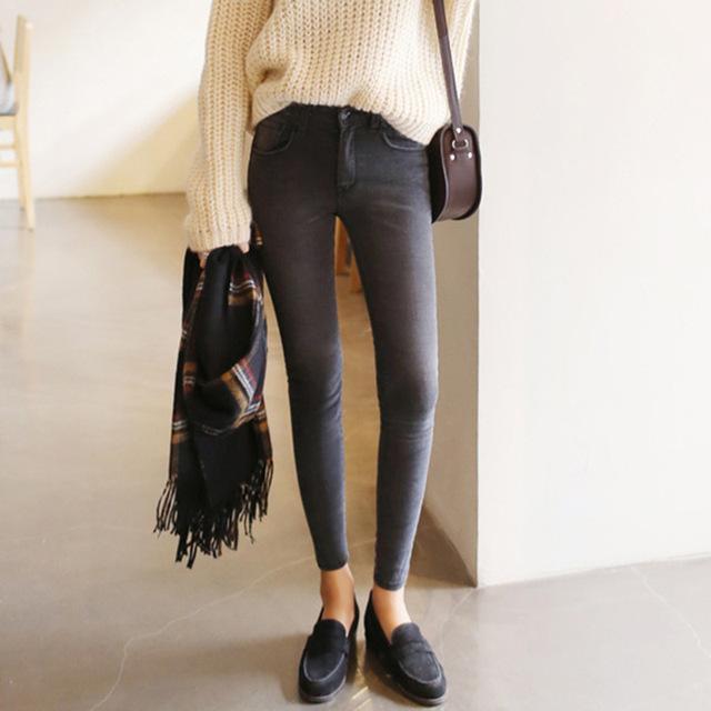 2016 calça jeans cintura fina nove Coreano cinza feminino legging calças lápis pés 9 preto das mulheres calças de brim