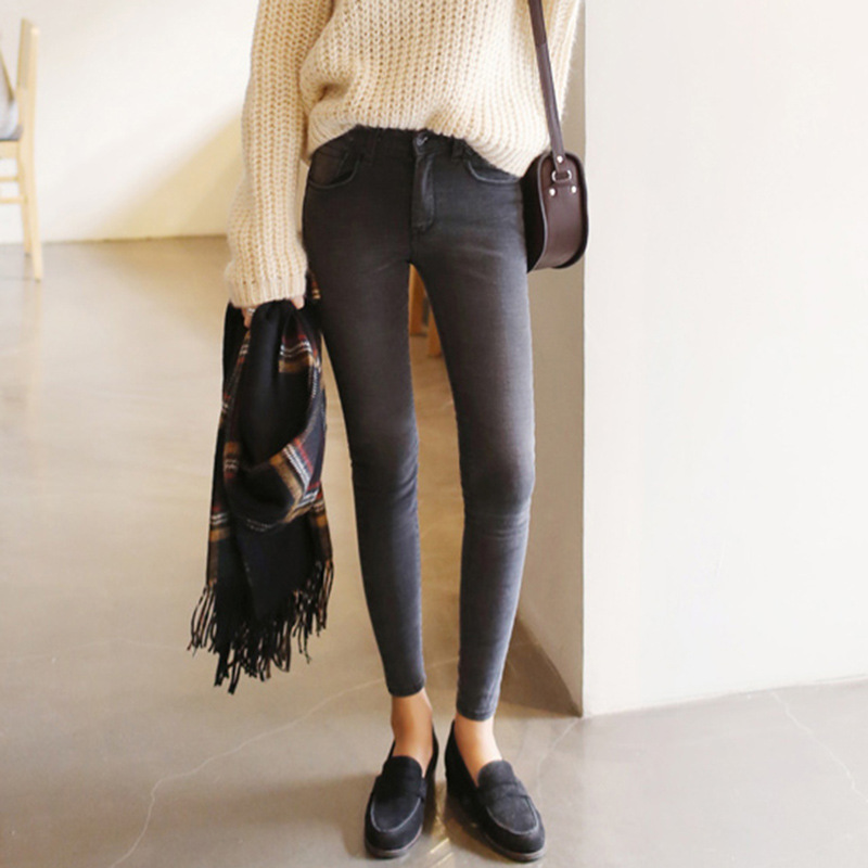 2019 thin waist   jeans   nine Korean female grey legging feet pencil pants 9 black women   jeans