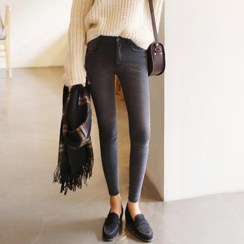 2019 thin waist   jeans   nine Korean female grey legging feet pencil pants 9 black women   jeans