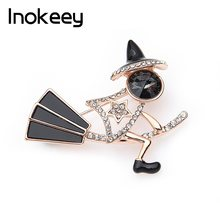 Inokeey Witch Sorceress riding a broom Brooch Pins For Women Crystal Christmas Bouquet For Women and Children Gift(China)