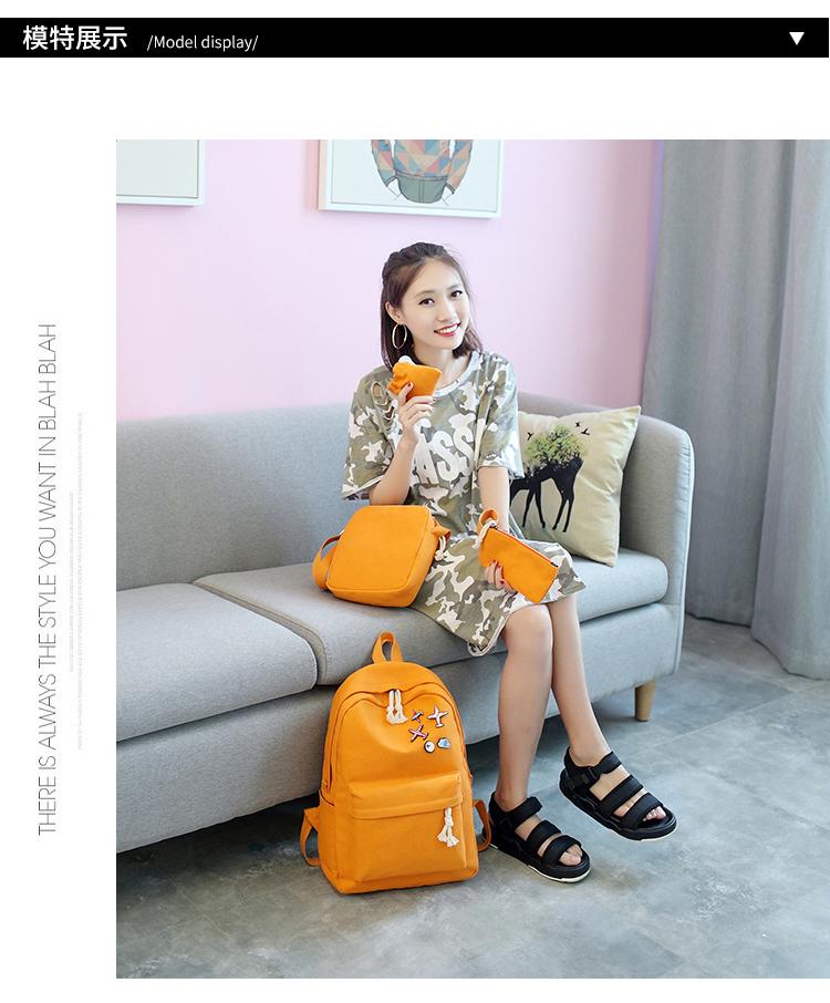 Menghuo 5 Pcsset Women Backpacks Cute Plane Badge School Bags For Teenage Girls Simple Canvas Backpacks Ladies Shoulder Bags (6)