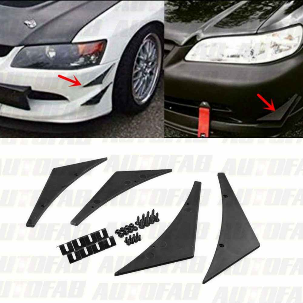 4x Universal Paintable Frente Lip Bumper Canard Divisores Aletas de Valência Universal Queixo AF-FD001