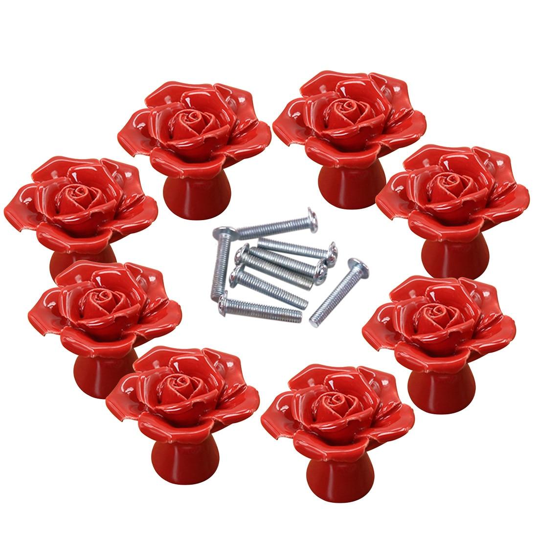 High End Kitchen Cabinet Hardware: 8 Pcs Set High End Elegant Rose Ceramic Furniture Handles