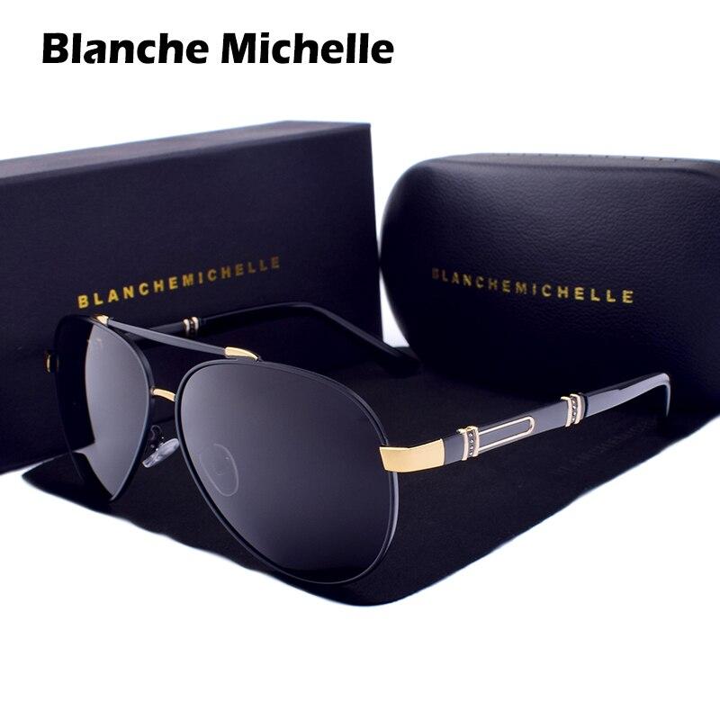 Blanche Michelle Pilot Polarized Sunglasses Men 2019 Brand Mirror Sun Glasses Driving UV400 Alloy Gafas De Sol Oculos With Box